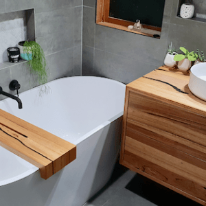 | Wall Hung  Bathroom Vanity | Reclaimed Australian Hardwood Timber | Natural Oil Finish | 2 x Push to Open Drawers | Length 900mm x Width 500mm x Height 550mm | $1,705 |
