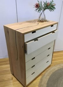 | Cuba Chest of Drawers | Reclaimed Australian Hardwood Timber | Natural Oil & Wax Finish | White Drawers | POA |