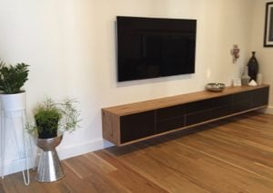| Floating Entertainment Unit | Reclaimed Australian Hardwood Timber | Natural Oil & Wax Finish | Drawer and Door Fronts made from Black MAXI-Film | POA |