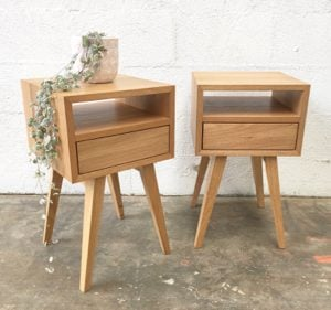 | Pillar Bedside Tables | Reclaimed Australian Hardwood Timber | Natural Oil & Wax Finish | 1 x Push to Open Drawer | 1 x Open Section | Length 350mm x Width 350mm x Height 600mm | $1,089 each |