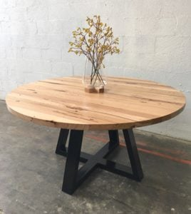 | Radius Dining Table | Reclaimed Australian Hardwood Timber | Natural Oil & Wax Finish | Steel Legs - Black | Diameter 1500mm | $3,267 |