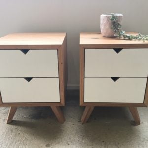 | Malibu Bedside Tables | Reclaimed Australian Hardwood Timber | Natural Oil & Wax Finish | Plywood - White | Length 500mm x Width 420mm x Height 650mm | $1,089 each |