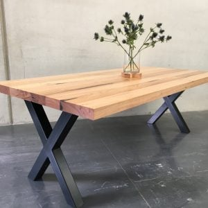 | Tex Dining Table | Reclaimed Australian Hardwood Timber | Natural Oil & Wax Finish | Steel Legs - Black | Length 2400mm x Width 1000mm x Height 750mm | Timber Thickness 60mm approx | POA |
