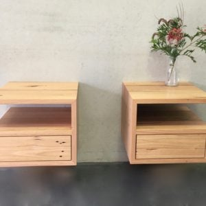 | Floating Bedside Tables | Reclaimed Australian Hardwood Timber | Natural Oil & Wax Finish | 1 x Push to Open Drawer | 1 Open Section | Length 420mm x Width 420mm x Height 350mm | $1,089 each |
