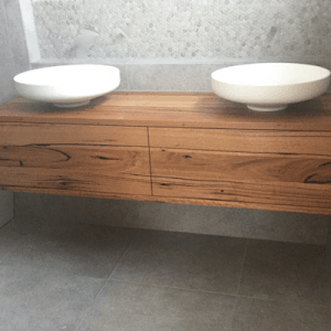 | Floating Bathroom Vanity | Reclaimed Australian Hardwood Timber | Natural Oil & Wax Finish | 2 x Push to Open Drawers | Length 1500mm x Width 500mm x Height 350mm | $1,980 |
