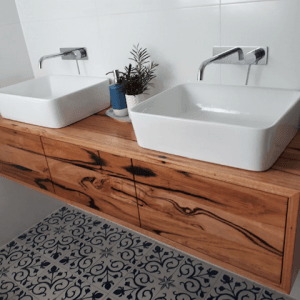 | Wall Hung Bathroom Vanity | Reclaimed Australian Hardwood Timber | Natural Oil & Wax Finish | 3 x Push to Open Drawers | Length 1600mm x Width 400mm x Height 350mm | $2,255 |