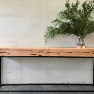 | Custom Flinders Console | Reclaimed Australian Hardwood Timber | Natural Oil & Wax Finish | 4 x Soft Close Drawers | Steel Legs - Black | Length 2100mm x Width 350mm x Height 850mm | POA |