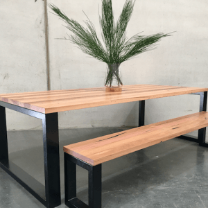 | Custom Gia Dining Table & Custom Gia Bench Seat | Reclaimed Australian Hardwood Timber | Natural Oil & Wax Finish | Steel Legs - Black | Table - Length 2400mm x Width 1100mm x Height 750mm | $3,388 | Bench Seat - Length 2150mm x Width 350mm x Height 450mm | $1,375 |