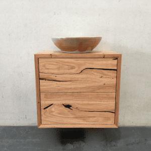 | Wall Hung Bathroom Vanity | Reclaimed Australian Hardwood Timber | Natural Oil & Wax Finish | 2 x Push to Open Drawers | Length 600mm x Width 400mm x Height 550mm | $1,375 |