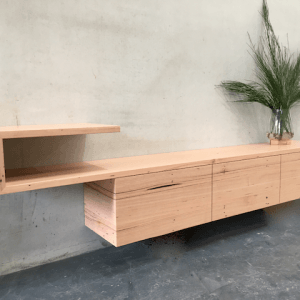 | Custom Wall Hung Entertainment Unit | Reclaimed Australian Hardwood Timber | Natural Oil & Wax Finish | 3 x Soft Close Drawers | Length 2870mm x Width 450mm x Height 1100mm  | $3,509 |