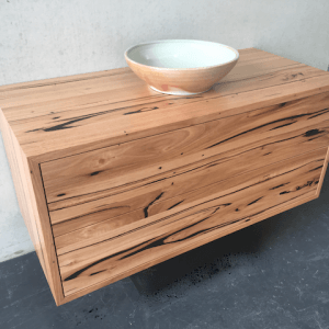 | Wall Hung Bathroom Vanity | Reclaimed Australian Hardwood Timber | Natural Oil & Wax Finish | 2 x Push to Open Drawers | Length 1200mm x Width 550mm x Height 550mm | $2,090 |