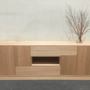 | Arcadia Buffet | Victorian Ash Timber | Natural Oil & Wax Finish | 4 x Push to Open Doors | 2 x Push to Open Drawers | 1 x Open Section | Length 2400mm x Width 450mm x Height 850mm | $4,356 |