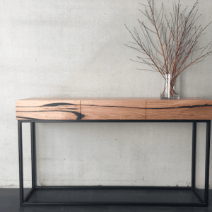| Flinders Console | Reclaimed Australian Hardwood Timber | Natural Oil & Wax Finish | 3 x Soft Close Drawers | Steel Legs - Black | Length 1500mm x Width 350mm x Height 850mm | $2,118 | IN STOCK & AVAILABLE TO PURCHASE NOW |