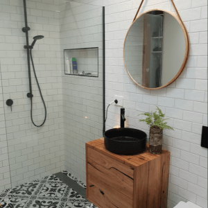| Wall Hung Bathroom Vanity | Made from Reclaimed Australian Hardwood Timber | Natural Oil & Wax Finish | 2 x Push to Open Drawers | Length 650mm x Width 500mm x Height 500mm | $1,430 |