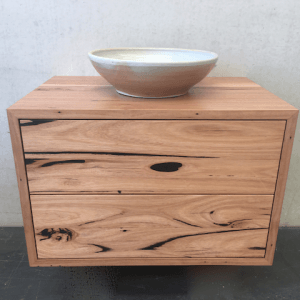 | Wall Hung Bathroom Vanity | Reclaimed Australian Hardwood Timber | Natural Oil Finish | 2 x Push to Open Drawers | Length 750mm x Width 500mm x Height 500mm | $1,540 |