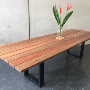 | Annabel Outdoor Dining Table | Spotted Gum Timber | Natural Oil Finish | Steel Legs - Black | Length 3000mm x Width 1000mm x Height 750mm | $3,570 |