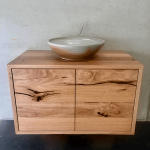 | Wall Hung Bathroom Vanity | Reclaimed Australian Hardwood Timber | Natural Oil & Wax Finish | 2 x Push to Open Doors | Length 820mm x Width 450mm x Height 500mm | $1,500 |